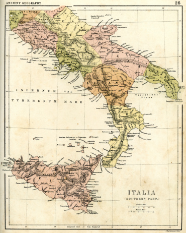 Antique map of Southern Italia
