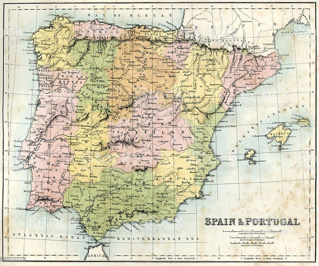 Mapa De España Antiguo.Ilustracion De Antiguo Mapa De Espana Y Portugal Y Mas