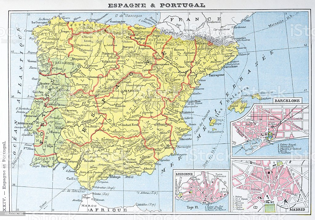 Antique Map Of Spain And Portugal Stock Illustration Download Image Now Istock