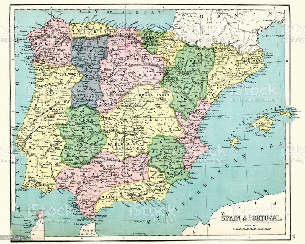 Map Of Southern Spain And Portugal.Antique Map Of Spain And Portugal 1897 Late 19th Century Stock