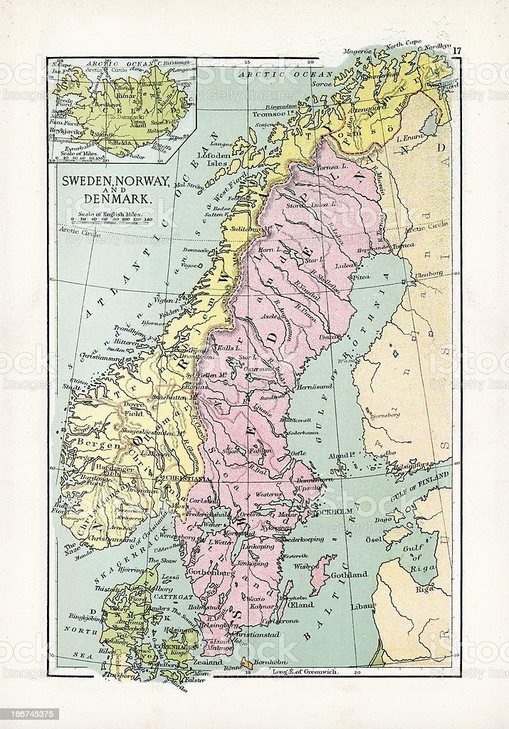 karte dänemark norwegen Antique Map Of Sweden Norway And Denmark Stock Illustration