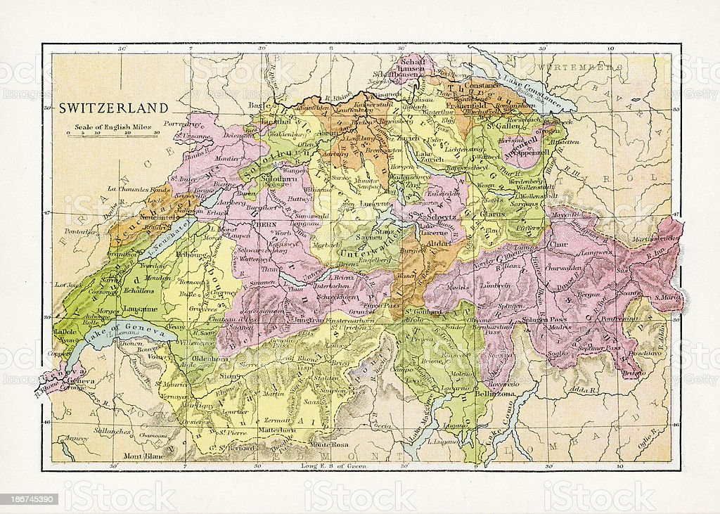 Antique Map of Switzerland royalty-free antique map of switzerland stock vector art & more images of 1890-1899