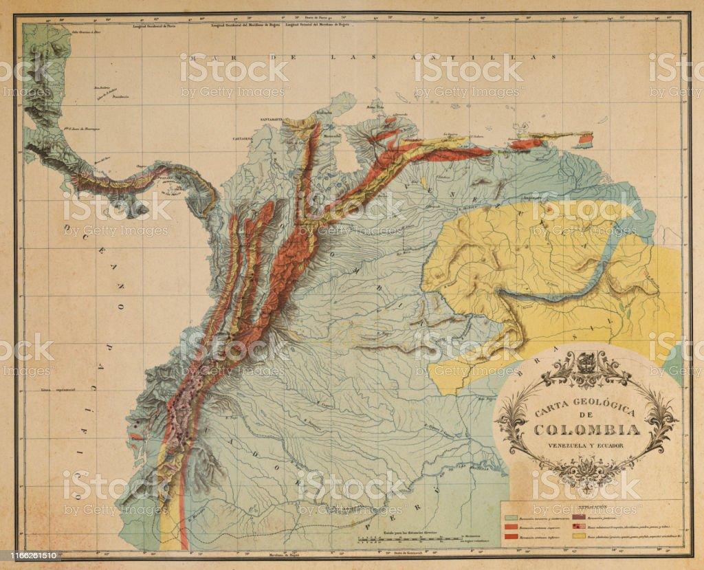 Antique Map Of The Andes Mountains In Ecuador Venezuela And ...