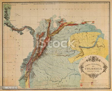 Vintage Map of the Andes Mountains in Ecuador, Venezuela and Columbia. Vintage etching circa late 19th century.
