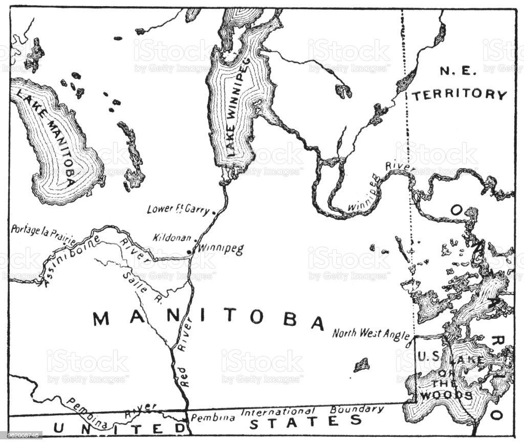 Carte Canada Manitoba.Carte Antique De La Nouvelle Province Du Manitoba Canada Annees 1870