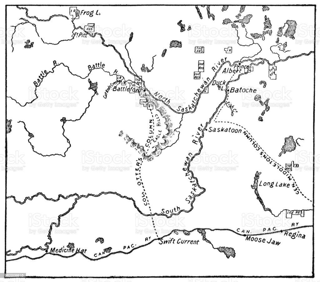 Antique Map Of The Northwest Rebellion In Saskatchewan Canada 19th ...