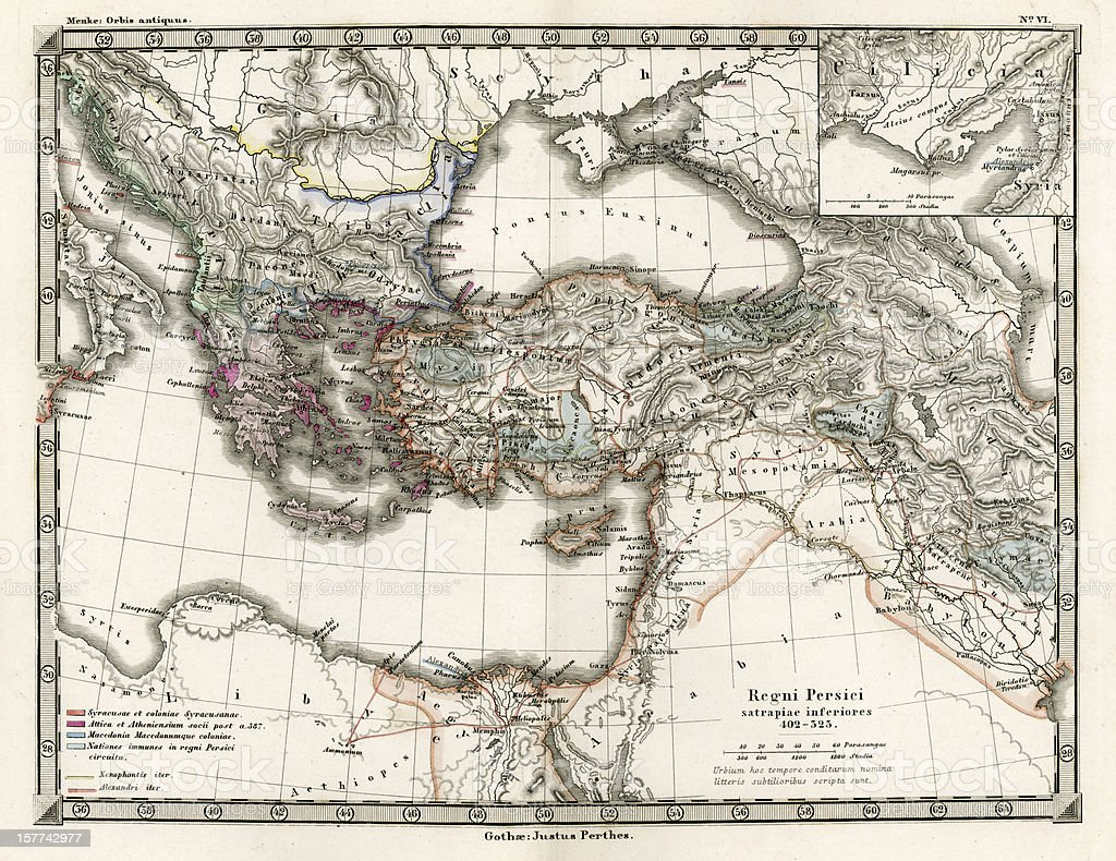 Antique Map of the Persian Empire vector art illustration