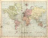 istock Antique map of the world, 1873 681317994
