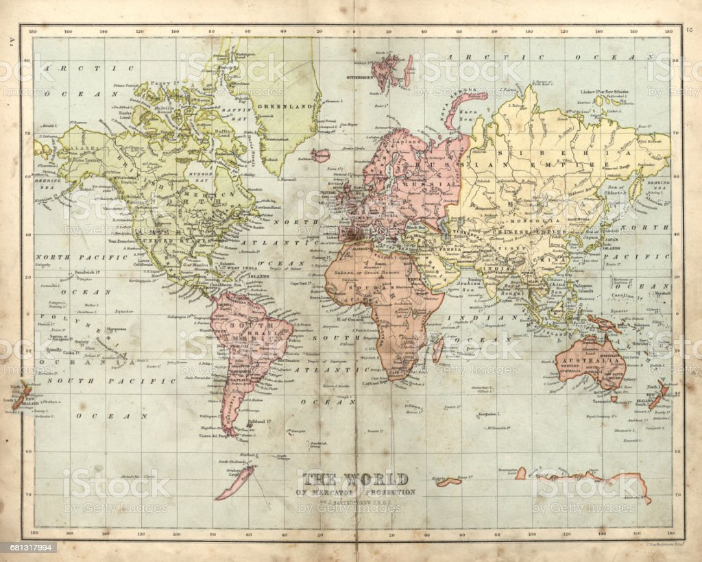 Antique map of the world, 1873 vector art illustration