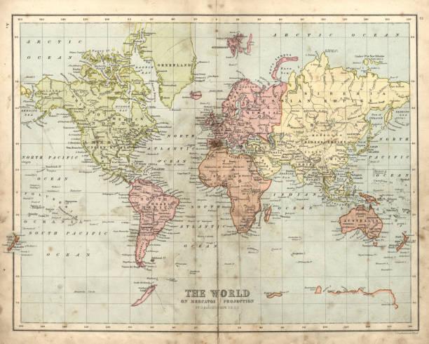 1873、世界のアンティーク マップ - ビンテージの地図点のイラスト素材/クリップアート素材/マンガ素材/アイコン素材