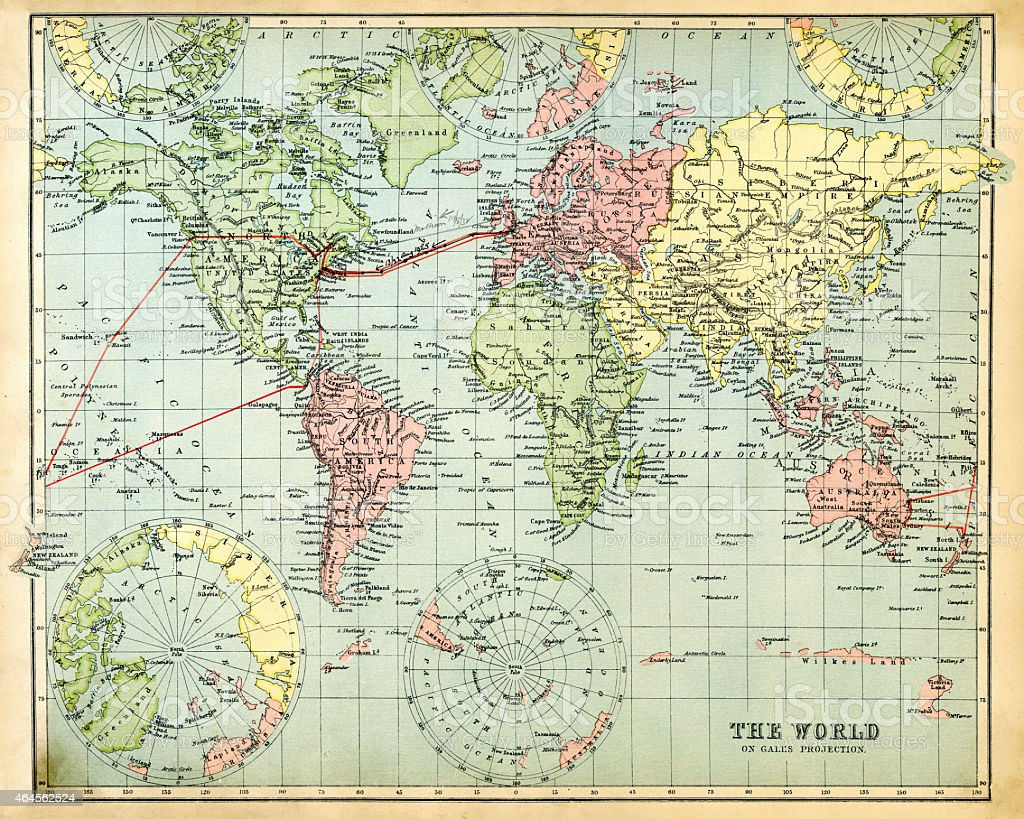 Antique Map of the World 1897 vector art illustration