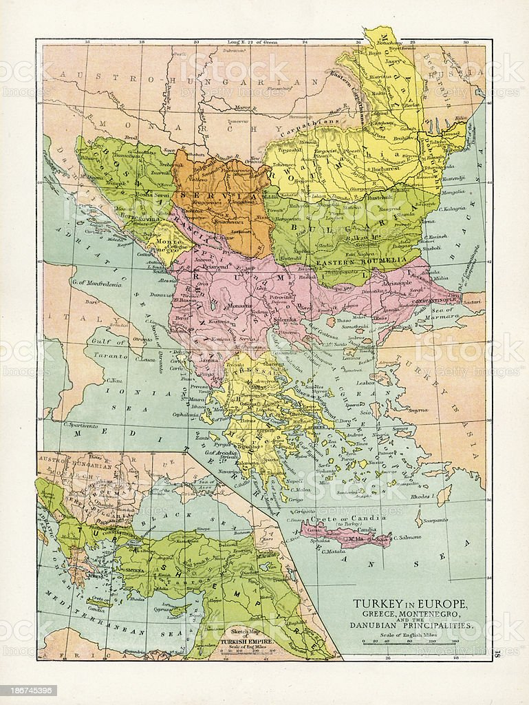 Image of: Antique Map Of Turkey In Europe Stock Illustration Download Image Now Istock