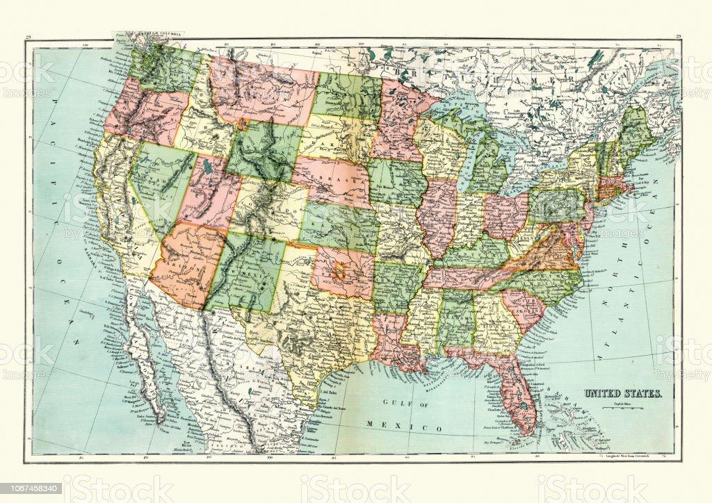 Ilustración De Mapa Antiguo De Estados Unidos 1897 Finales Del Siglo Xix Y Más Vectores Libres De Derechos De 1890 1899 Istock