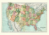 Vintage engraving of a Antique map of United States of America, 1897, late 19th Century