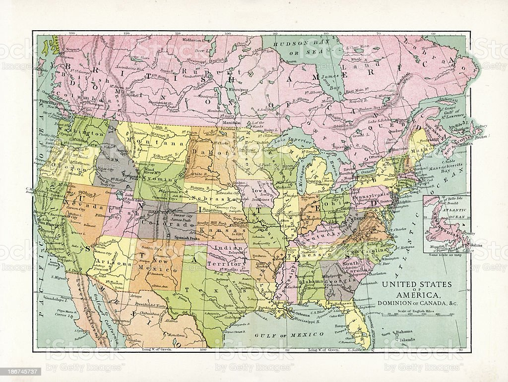 Antique Map of USA and Canada vector art illustration