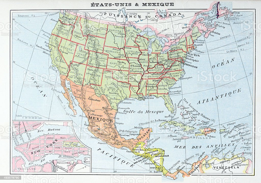 Antique Map Of Usa And Mexico Stock Illustration - Download ...