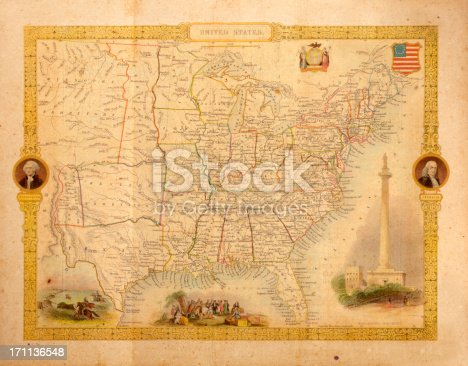 istock Antique Map of USA 171136548