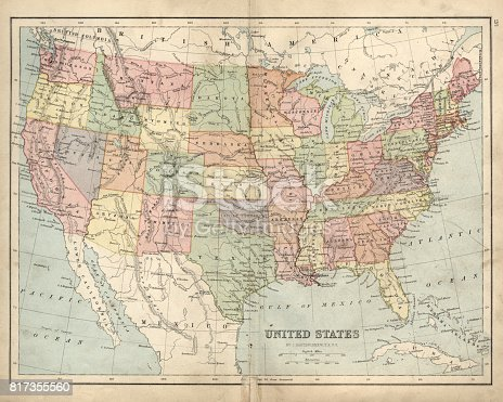 Vintage engraving of a Antique map of United States of America in the 19th Century, 1873