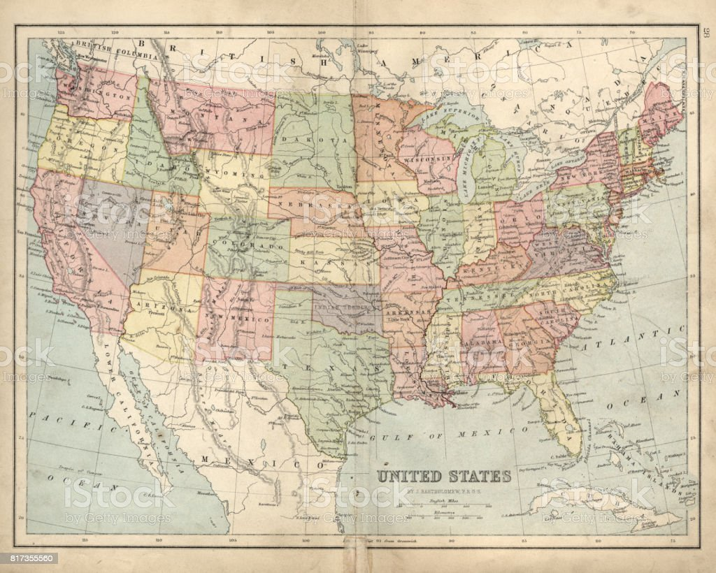 Antique map of USA in the 19th Century, 1873 vector art illustration