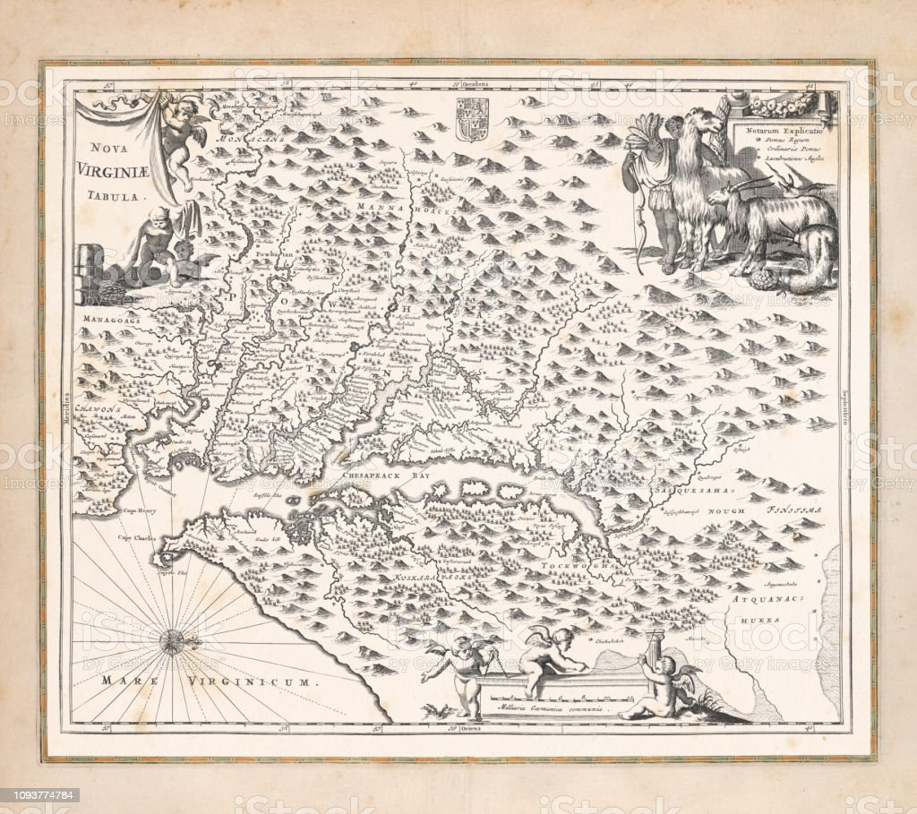Virginia United States Map.Antique Map Of Virginia United States 1671 Stock Vector Art More