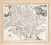Antique map of Virginia United States\nOriginal edition from my own archives\nSource: America New World Empires 1671