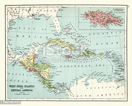 Vintage engraving of a Antique map of West Indes, Central America ,1897, late 19th Century