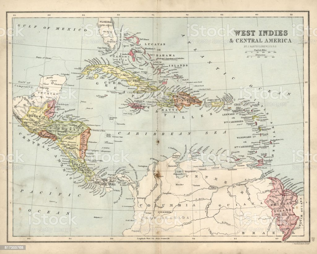 Antique map of West Indies and Central America, 19th Century vector art illustration