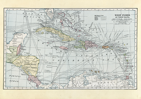 Vintage illustration of a Antique map of West Indies and Central America, 1890s, 19th Century