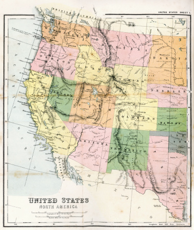 Antique Map from 1867 of Western United States of America