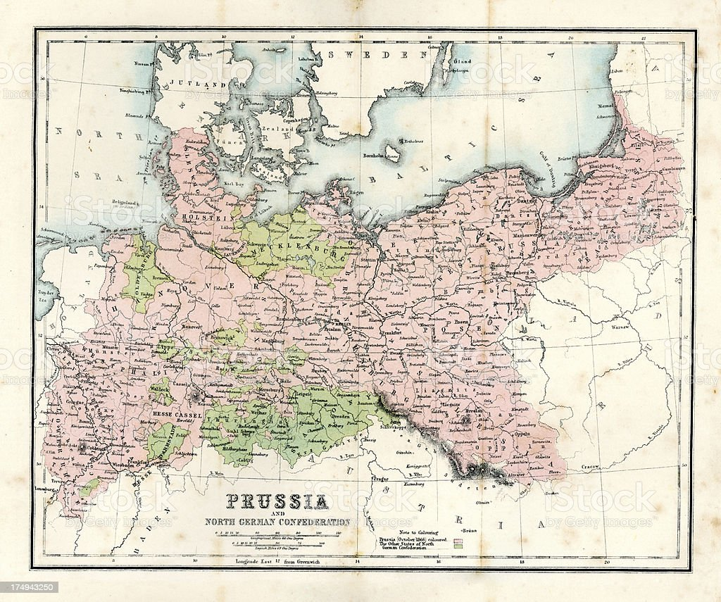 Antique Map Prussia Stock Vector Art More Images Of 1860 1869