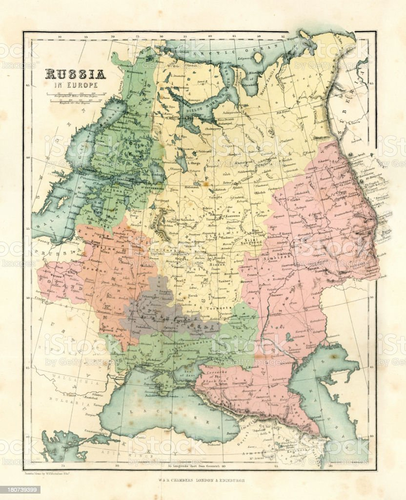 Antique Map Russia In Europe Stock Illustration Download Image Now Istock