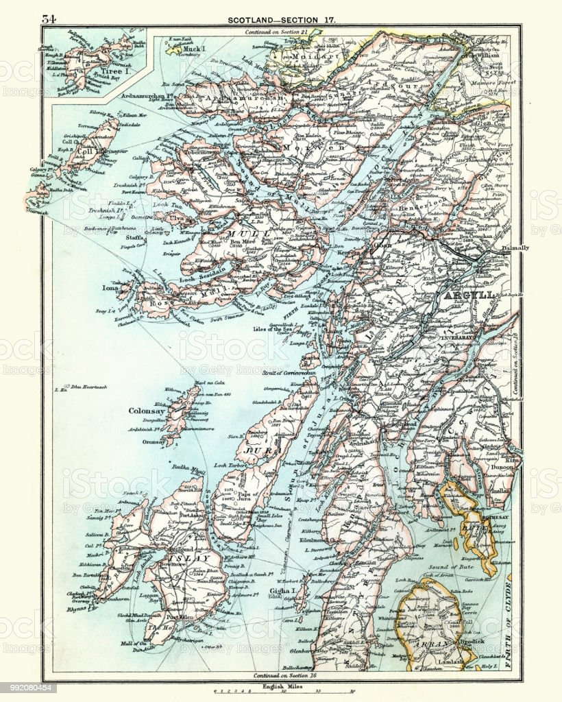Islay Scotland Map.Antique Map Scotland Jura Mull Argyll Islay 19th Century Stock