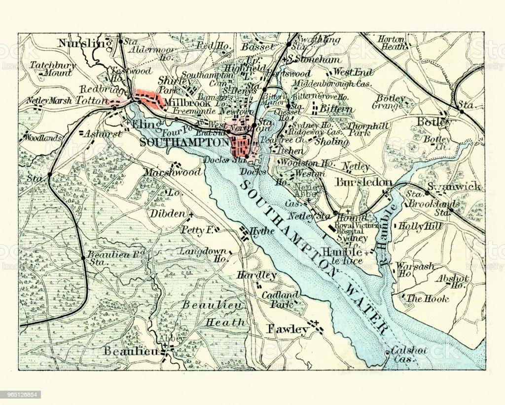 Antique map, Southampton, England, 19th Century vector art illustration