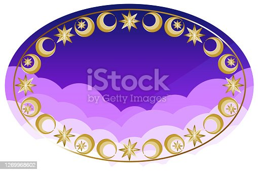 Antique moon and star gold frame on purple background.
