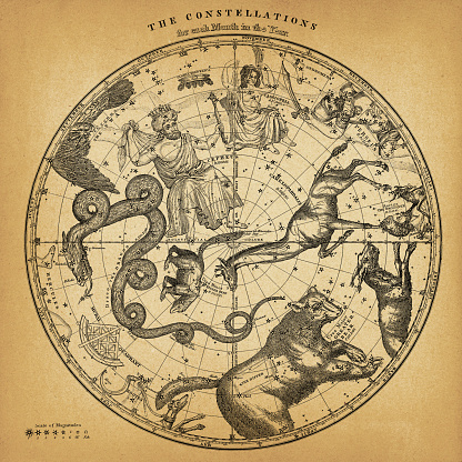 Antique Northern Hemisphere Constellation Map on Old Paper