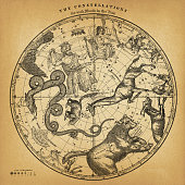 istock Antique Northern Hemisphere Constellation Map on Old Paper 1250117175