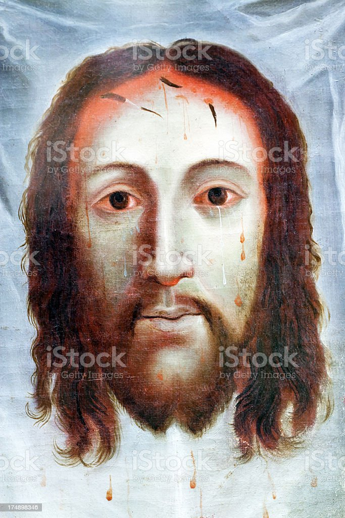 Antique oil painting of Jesus Christ face on white cloth royalty-free antique oil painting of jesus christ face on white cloth stock vector art & more images of adult