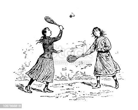 Antique old French engraving illustration: Badminton