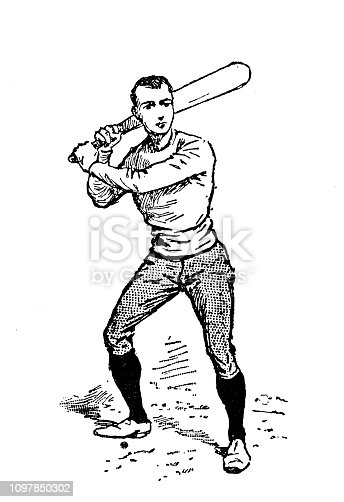 Antique old French engraving illustration: Baseball (Theque) player