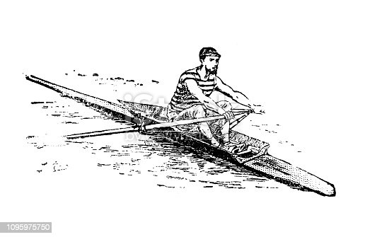 Antique old French engraving illustration: Canotier / Rower