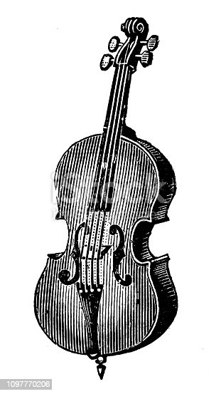 istock Antique old French engraving illustration: Cello 1097770206