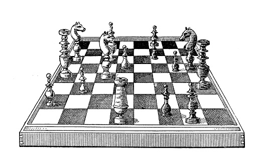 Antique old French engraving illustration: Chessboard