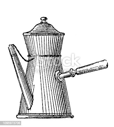 Antique old French engraving illustration: Coffee pot