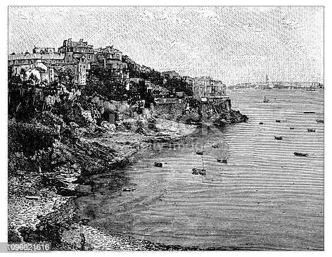 Antique old French engraving illustration: Dinard, Cote St-Malo