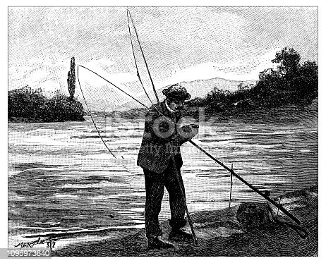 Antique old French engraving illustration: Fisherman
