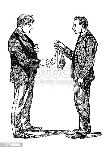Antique old French engraving illustration: Magic trick