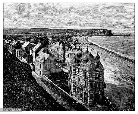Antique old French engraving illustration: Mers, Treport