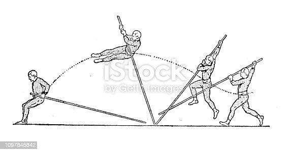 Antique old French engraving illustration: Pole vault jump