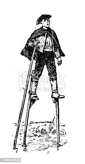 Antique old French engraving illustration: Stilts