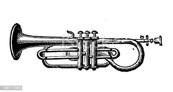 Antique old French engraving illustration: Trumpet